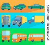 symbols car  truck  bus. set...   Shutterstock .eps vector #288428597