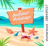 beautiful seaside view on sunny ... | Shutterstock .eps vector #288439217