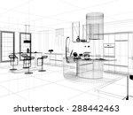 3d linear kitchen interior | Shutterstock . vector #288442463