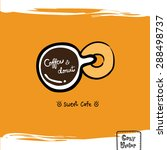 hand drawing coffee cup top... | Shutterstock .eps vector #288498737