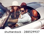 sexy couple in the car. luxury... | Shutterstock . vector #288529937