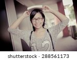 attractive female college... | Shutterstock . vector #288561173
