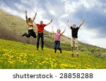 happy friends jumping in meadow | Shutterstock . vector #28858288