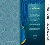 vector blue baroque invitation... | Shutterstock .eps vector #288601523