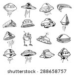 set of ufos. drawing sketch.... | Shutterstock .eps vector #288658757