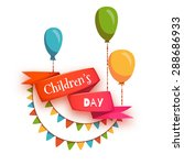red ribbon with children's day... | Shutterstock .eps vector #288686933