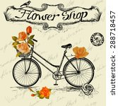 vintage poster for flower shop... | Shutterstock .eps vector #288718457