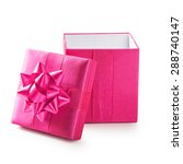 Open Pink Gift Box With Ribbon...