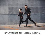 couple running in an urban... | Shutterstock . vector #288742547