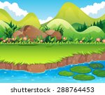 river scene with lawn and... | Shutterstock .eps vector #288764453