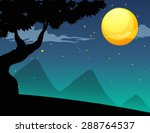 silhouette scene with tree at... | Shutterstock .eps vector #288764537