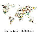 Cartoon Animal World Map For...