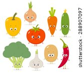 cartoon vegetables vector set... | Shutterstock .eps vector #288907097
