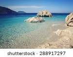 calm blue sea and  rocks. aged... | Shutterstock . vector #288917297