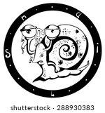 emblem sketch snail in black... | Shutterstock .eps vector #288930383
