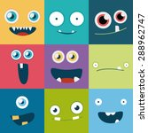 Cartoon Monster Faces Vector...