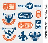 set of blue and orange gym and... | Shutterstock .eps vector #288967763
