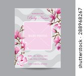 baby arrival card with photo... | Shutterstock .eps vector #288968267