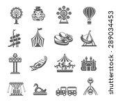 amusement park grey icons set... | Shutterstock .eps vector #289034453