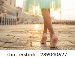 Small photo of Fashionable woman wearing high heel shoes