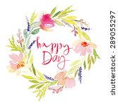 flowers wreath watercolor... | Shutterstock .eps vector #289055297