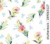 watercolor flowers. seamless... | Shutterstock .eps vector #289063127