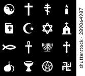 vector white religion icon set.   Shutterstock .eps vector #289064987