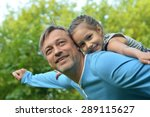 happy father with daughter in... | Shutterstock . vector #289115627