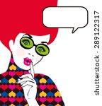 pop art illustration of woman... | Shutterstock . vector #289122317
