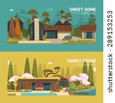 two family house and sweet home ... | Shutterstock .eps vector #289153253