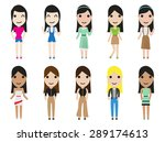 casual set woman characters... | Shutterstock .eps vector #289174613