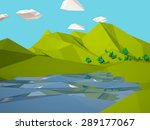 low poly 3d geometric lanscape... | Shutterstock . vector #289177067