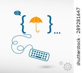 umbrella and flat design... | Shutterstock .eps vector #289281647