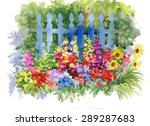 Watercolor Rural Wooden Fence...