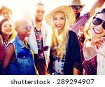 teenagers friends beach party... | Shutterstock . vector #289294907