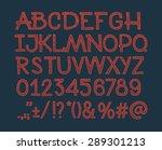 chalk sketched striped alphabet ... | Shutterstock .eps vector #289301213