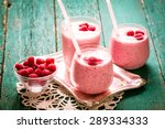 fresh raspberry smoothie on a... | Shutterstock . vector #289334333