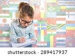 little girl with glasses... | Shutterstock . vector #289417937
