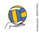 volleyball ball on hand