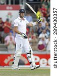 Small photo of MANCHESTER, ENGLAND - August 03 2013: Kevin Pietersen raises his bat to acknowledge the crowd after scoring 100 runs during day three of the Ashes 3rd test match at Old Trafford Cricket Ground