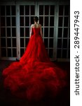 Beautiful Girl In Long Red...