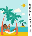 a young black guy on the beach... | Shutterstock .eps vector #289457867