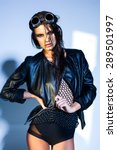 sexy woman model dressed punk ... | Shutterstock . vector #289501997