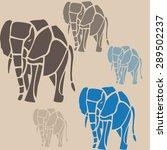 stylized elephant pattern on... | Shutterstock .eps vector #289502237