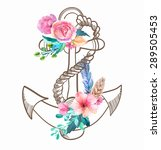 doodle anchor with watercolor... | Shutterstock .eps vector #289505453