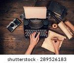 Retro Typewriter Placed On...