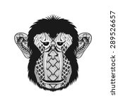 Zentangle Stylized Monkey Face...