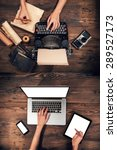 old typewriter with laptop ... | Shutterstock . vector #289527173
