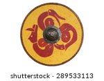 Stock photo a viking style circular wooden shield painted with dragons 289533113