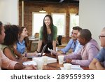 female boss addressing office... | Shutterstock . vector #289559393